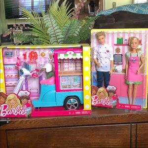 NEW BARBIE BISTRO CART & BARBIE & KEN BAKER SET